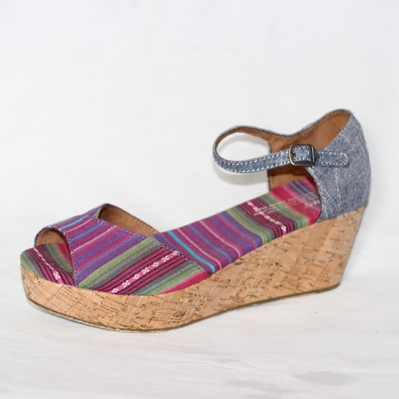 43889cc0d Toms Shoes | New Multicolor Glitz Cork Wedge Sandal 9 | Poshmark